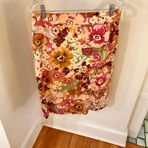 J. Crew multi-colored floral print skirt, size 8
